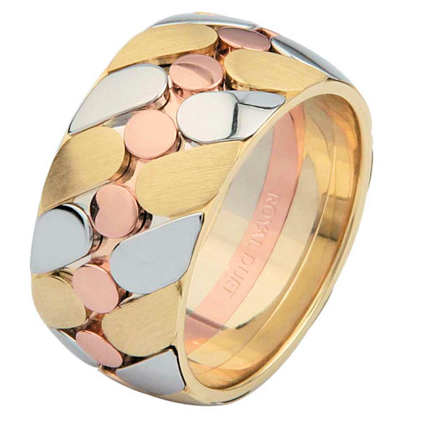 Item # 68725210E - 18 kt tri-color gold, comfort fit, 10.0 mm wide, wedding ring. The band combines white, yellow and rose gold together to create a unique design. The yellow gold has a brushed finish and the white and rose gold has a polished finish. Different finishes may be selected or specified.