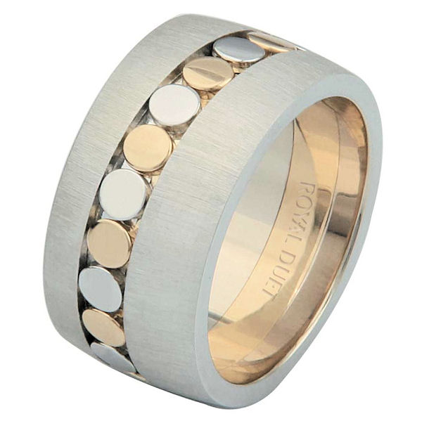 Item # 68726010E - 18 kt two-tone gold, comfort fit, 10.25 mm wide, wedding ring. The band combines white and yellow gold together to create a beautiful design. It has a mixture of brushed and polished finishes to complete the look. Different finishes may be selected or specified.