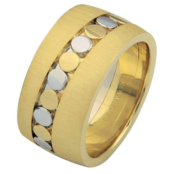 Item # 68726101E - 18 kt two-tone gold, comfort fit, 10.25 mm wide, wedding ring. The band combines white and yellow gold to create a beautiful pattern. The ring has a mix of brushed and polished finishes. Different finishes may be selected or specified.