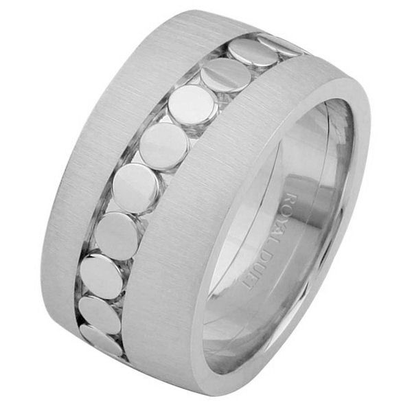 Item # 68726101WE - 18 kt white gold, comfort fit, 10.25 mm wide, wedding ring. The band uses the white gold in a unique way to create a beautiful pattern. The ring has a mix of brushed and polished finishes. Different finishes may be selected or specified.