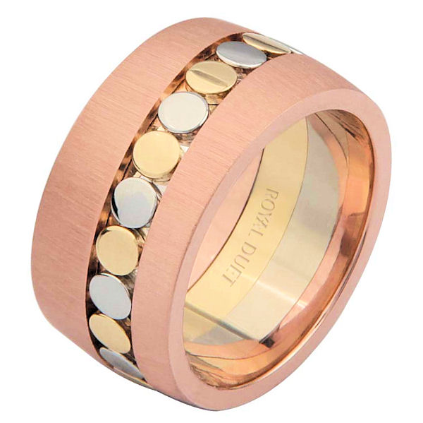 Item # 68726210E - 18 kt tri-color gold, comfort fit, 10.25 mm wide, wedding ring. The band combines white, yellow and rose gold in a unique way to create a beautiful pattern. It has a mix of brushed and polished finishes. Different finishes may be selected or specified.