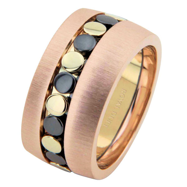 Item # 68726213 - 14 kt yellow, rose, & black rhodium, comfort fit, 10.25 mm wedding ring. The band uses the yellow and rose gold with black rhodium to create a beautiful design. It has a mix of brushed and polished finishes. Different finishes may be selected or specified.