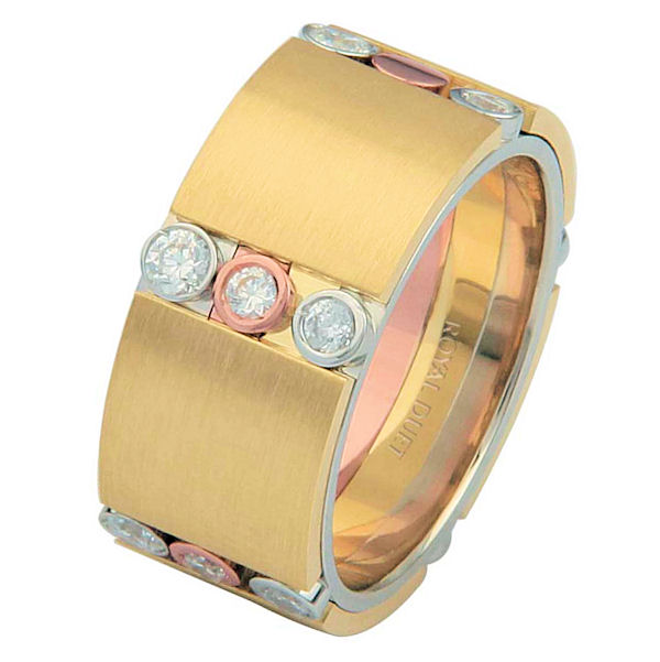 Item # 687270102DE - 18 kt tri-color gold, comfort fit, 9.3 mm wide, diamond wedding ring. The tri-color wedding band combines white, yellow and rose gold in a unique way to create a beautiful design with diamonds set into the ring. It has approximately 0.42 ct tw round brilliant cut diamonds, that are VS1-2 in clarity and G-H in color. The ring has a mixture of brushed and polished finishes.