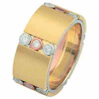 Item # 687270102D - 14 K Tri-Color Diamond Wedding Ring