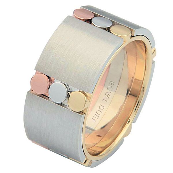 Item # 687271020E - 18 kt tri-color gold, comfort fit, 9.3 mm wide, wedding ring. The tri-color wedding band combines white, yellow and rose gold in a unique way to create a beautiful design. It has a mixture of brushed and polished finishes. Different finishes may be selected or specified.
