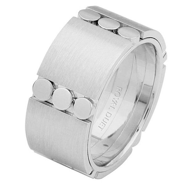 Item # 687271020WE - 18 kt white gold, comfort fit, 9.3 mm wide, wedding ring. The band combines the white gold in a unique way to create a beautiful design. It has a mixture of brushed and polished finishes. Different finishes may be selected or specified.
