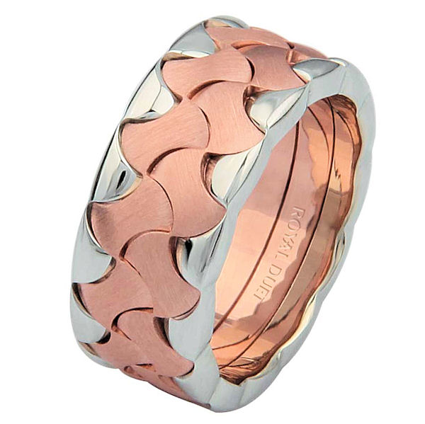 Item # 6872802R - 14 kt rose and white gold, comfort fit, 8.9 mm wide, wedding ring. The band combines white and rose gold together to create a beautiful design. It has a mixture of brushed and polished finishes. Different finishes may be selected or specified.