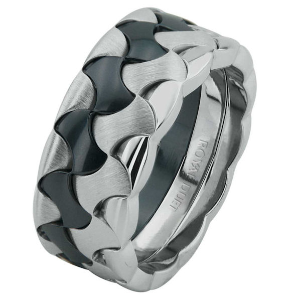 Item # 68728030WE - 18 kt white gold and black rhodium, comfort fit, 8.9 mm wide, wedding ring. The band combines white gold together to create a beautiful design with black rhodium. It has a mixture of polished and brushed finishes. Other finishes may be selected or specified.