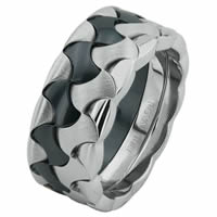 Item # 68728030W - White Gold & Black Rhodium Wedding Ring