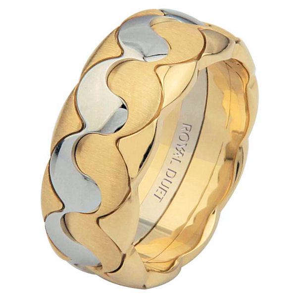 Item # 6872910 - One 14 kt two-tone gold, comfort fit, 8.5 mm wide, wedding band. The ring combines yellow and white gold together to create a beautiful design. It has a mixture of brushed and polished finishes. Different finishes may be selected or specified.