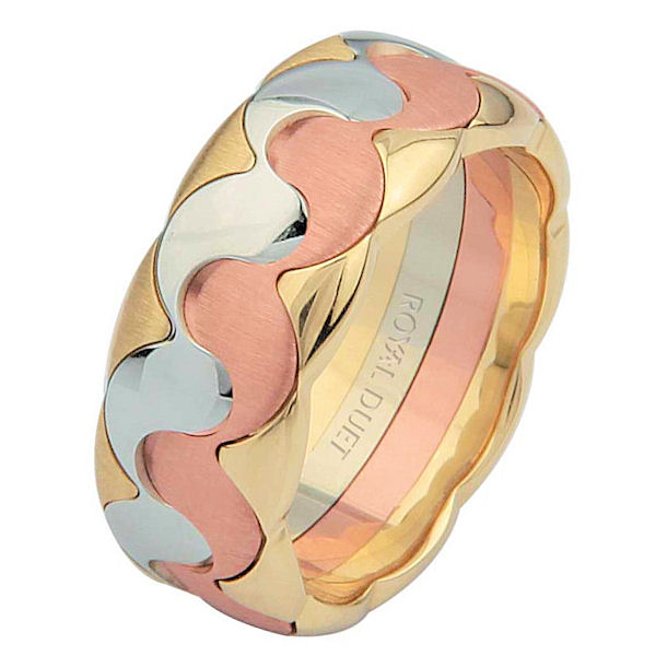 Item # 687301201E - 18 kt tri-color, comfort fit, 8.2 mm wide, wedding ring. The band has a combination of yellow, rose and white gold to create a beautiful design. It has a mix of brushed and polished finishes. Different finishes may be selected or specified.