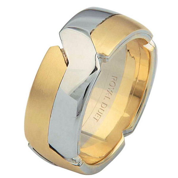 Item # 6873110E - 18 kt two-tone gold, comfort fit, 8.0 mm wide, wedding ring. The band intertwines the yellow and white gold together. It has a mix of brushed and polished finishes. Different finishes may be selected or specified.