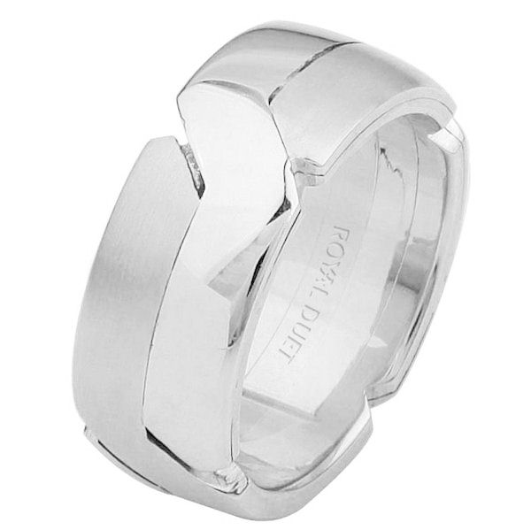 Item # 6873110W - 14 kt white gold, comfort fit, 8.0 mm wide, wedding ring. The band intertwines the white gold together. It has a mix of brushed and polished finishes together. Different finishes may be selected or specified.