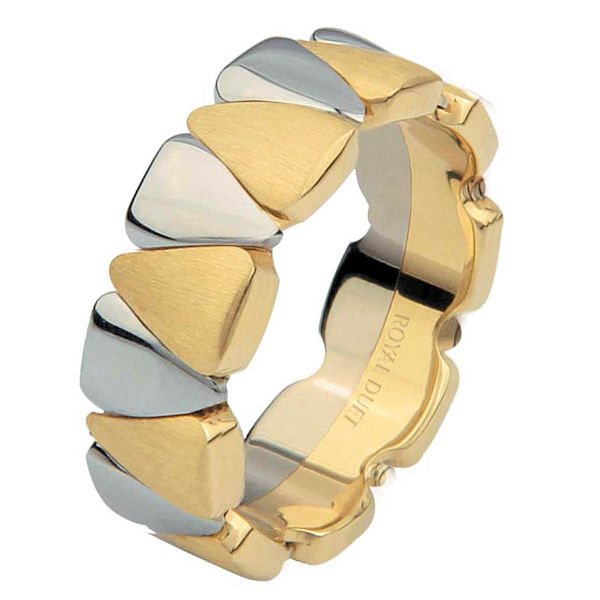 Item # 6873210 - 14 kt two-tone gold, comfort fit, 8.0 mm wide, wedding ring. The band combines tear drop shape white gold and yellow gold pieces together to create a beautiful design. The yellow gold has a brushed finish and the white gold has a polished finish. Other finishes may be selected or specified.