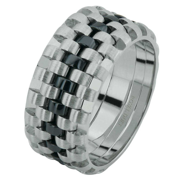 Item # 6873403WE - 18 kt white gold, comfort fit, 9.25 mm wide, wedding ring. The band has a beautiful pattern with black rhodium in the center. There is a mixture of brushed and polished finishes. Other finishes may be selected or specified.