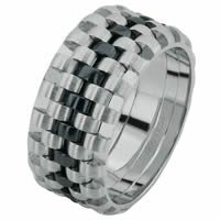 Item # 6873403WE - White Gold & Black Rhodium Wedding Ring