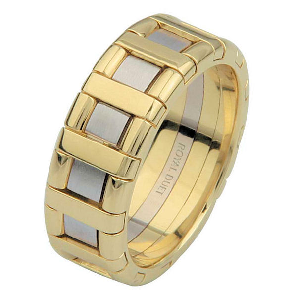 Item # 6873501E - 18 kt two-tone gold, comfort fit, 7.1 mm wide, wedding ring. The band has white and yellow gold combined to create a beautiful design. There is a mixture of brushed and polished finish. Other finishes may be selected or specified.