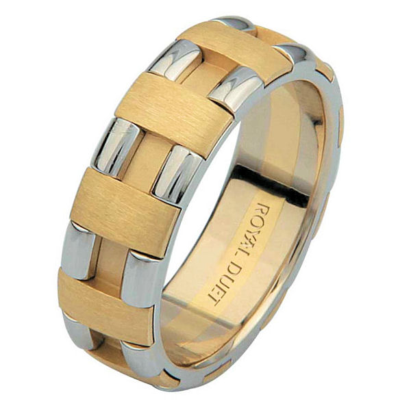 Item # 6873601E - 18 kt two-tone gold, comfort fit, 6.0 mm wide, wedding ring. The band has white and yellow gold combined together to create a beautiful look. There is a mixture of brushed and polished finishes. Other finishes may be selected or specified.