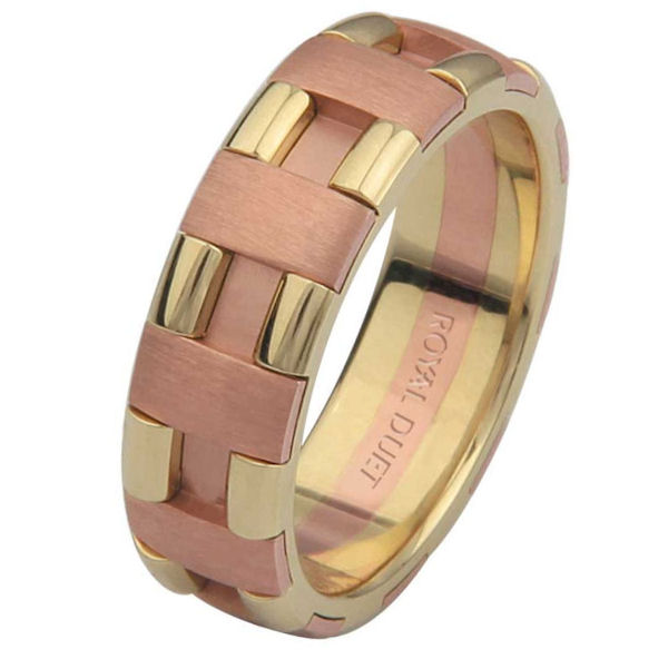 Item # 6873612E - 18 kt rose and yellow gold, comfort fit, 6.0 mm wide, wedding ring. The band has rose and yellow gold combined to create a beautiful design. There is a mixture of brushed and polished finishes. Other finishes may be selected or specified.