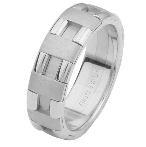 Item # 6873612WE - 18 kt white gold, comfort fit, 6.0 mm wide, wedding ring. The white gold is put together to create a beautiful design. There is a mixture of brushed and polished finishes. Other finishes may be selected or specified.