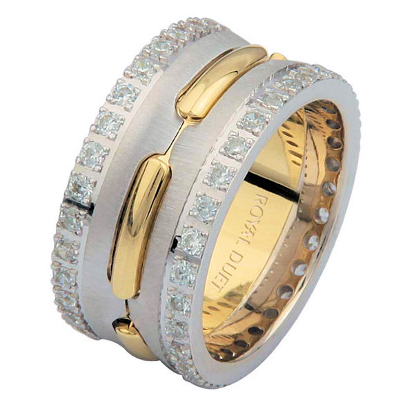 Item # 6873901DE - 18 kt two-tone gold, comfort fit, 10.2 mm wide, diamond eternity wedding ring. The band has a beautiful mixture of white and yellow gold. There are diamonds set around the whole band on each side. It has approximately 1.05 ct tw round brilliant cut diamonds, that are VS1-2 in clarity and G-H in color. The total weight of the diamonds may vary depending on the size of the ring.