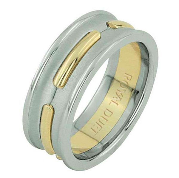 Item # 6873901E - 18 kt two-tone gold, comfort fit, 8.1 mm wide, wedding ring. The band has a unique design of white and yellow gold together. There is a mix of brushed and polished finishes. Other finishes may be selected or specified.