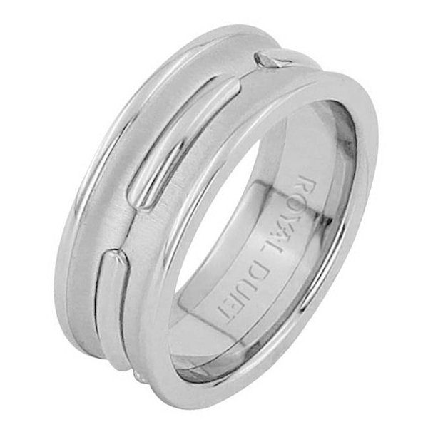 Item # 6873901WE - 18 kt white gold, comfort fit, 8.1 mm wide, wedding ring. The band is concaved with pieces of white gold in the center. There is a mix of brushed and polished finishes. Other finishes may be selected or specified.