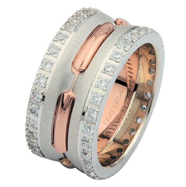Item # 6873902DRE - 18 kt rose and white gold, comfort fit, 10.2 mm wide, diamond eternity wedding ring. The band has a beautiful mixture of white and rose gold together. There are diamonds set on each side of the ring. It has approxiamtely 1.05 ct tw round brilliant cut diamonds, that are VS1-2 in clarity and G-H in color. The total weight of diamonds may vary depending on the ring size.