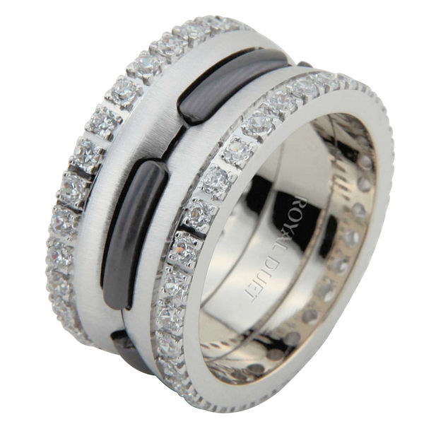 Item # 6873903DW - White Gold & Black Rhodium Diamond Eternity Ring View-1