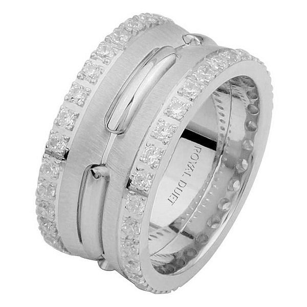 Item # 6873910DWE - 18 kt white gold, comfort fit, 10.2 mm wide, diamond eternity wedding ring. The band has a beautiful design in the center in white gold with diamonds on each side of the ring. It has approximately 1.05 ct tw round brilliant cut diamonds, that are VS1-2 in clarity and G-H in color. The total weight of the diamonds may vary depending on the size of the ring.
