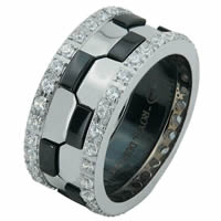Item # 68740030DW - White Gold & Black Rhodium Diamond Eternity Ring