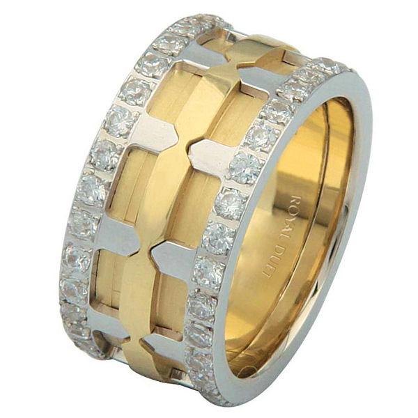 Item # 6874101D - 14 kt two-tone gold, comfort fit, 10.25 mm wide, diamond eternity ring. The band has a beautiful design with yellow and white gold. The diamonds are set around the whole band. It has approximately 1.05 ct tw round brilliant cut diamonds, that are VS1-2 in clarity and G-H in color. The diamond total weight may vary depending on the size of the ring.