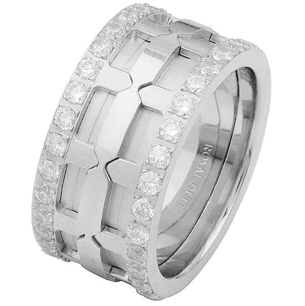 Item # 6874110DW - 14 kt white gold, comfort fit, 10.25 mm wide, diamond eternity ring. The band has a beautiful design using white gold and diamonds. It has approximately 1.05 ct tw round brilliant cut diamonds, that are VS1-2 in clarity and G-H in color. The total diamond weight may vary depending on the size of the ring.