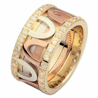 Item # 68743120D - 14 K Tri-Color Diamond Eternity Ring