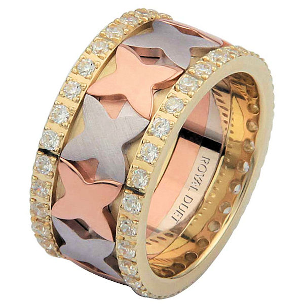 Item # 68744102DE - 18 kt tri-color gold, comfort fit, 10.25 mm wide, diamond eternity ring. The band has a beautiful design with white, yellow, and rose gold. The diamonds are set around the whole ring. It has approximately 1.05 ct tw round brilliant cut diamonds, that are VS1-2 in clarity and G-H in color. Diamond total weight may vary depending on the size of the ring.