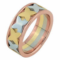 Item # 68744210E - 18 Kt Tri-Color Wedding Ring