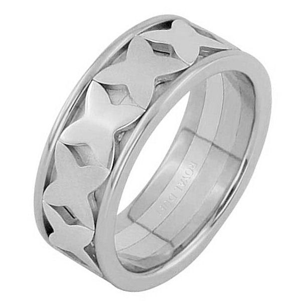 Item # 68744210WE - 18 kt white gold, comfort fit, 8.25 mm wide, wedding ring. The band is in white gold with white gold shapes in the center of the ring. Finishes may be selected or specified.