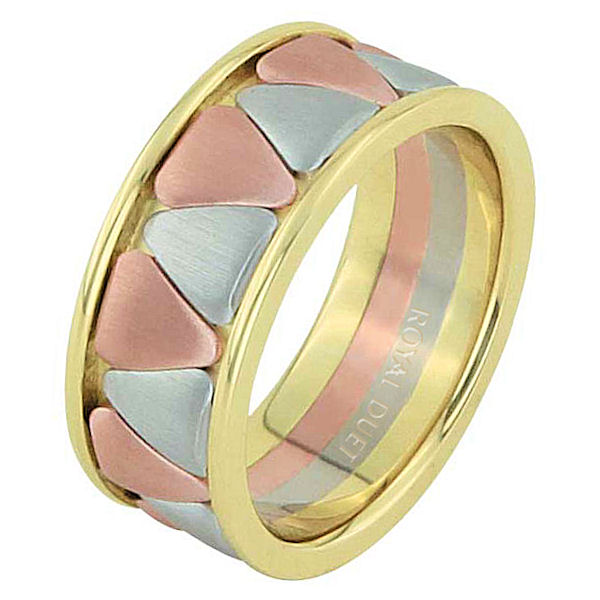 Item # 68746120E - 18 kt tri-color, comfort fit, 9.15 mm wide, wedding ring. The band is made of white, yellow, and rose gold. The center of the ring has rounded triangles with a mixture of rose and white gold. Center is brushed and the edges are polished. Other finishes may be selected or specified.