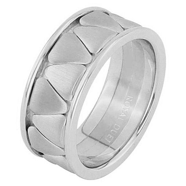 Item # 68746120WE - 18 kt white gold, comfort fit, 9.15 mm wide, wedding ring. The band is made of white gold. Center of the ring is brushed and the edges are polished. Other finishes may be selected or specified.