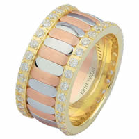 Item # 68747120D - 14 K Tri-Color Diamond Eternity Ring