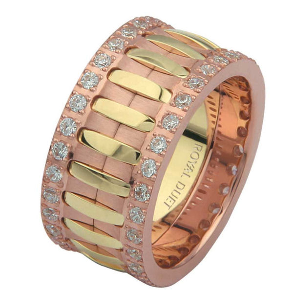 Item # 6874821D - 14 kt rose and yellow gold, comfort fit, 10.1 mm wide, diamond eternity ring. The band has a beautiful composition of yellow and rose gold with diamonds accenting each side of the ring. It has about 1.05 ct tw round brilliant cut diamonds, that are VS1-2 in clarity and G-H in color. Diamond total weight may vary depending on the size of the ring.