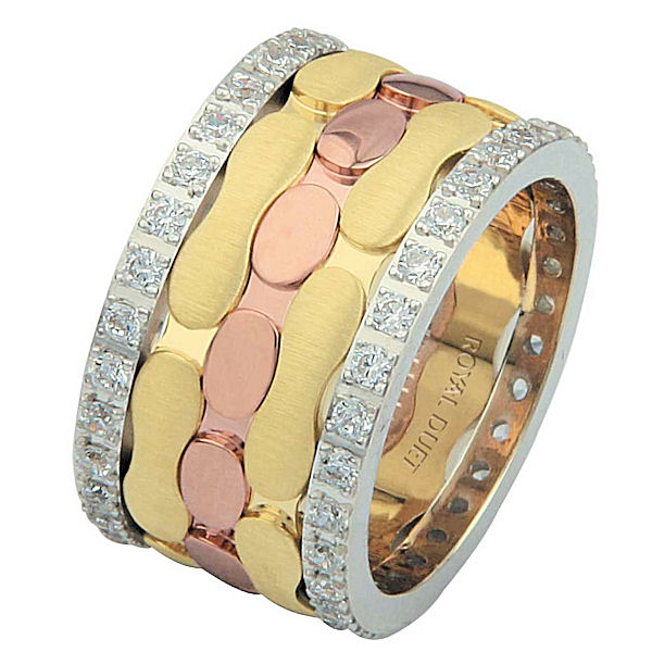 Item # 68749012D - 14 kt tri-color gold, comfort fit, 12.0 mm wide, diamond eternity ring. The band has a unique composition of white, rose, and yellow gold with diamonds accenting each side of the ring. It has approximately 1.05 ct tw round brilliant cut diamonds, that are VS1-2 in clarity and G-H in color. Diamond total weight may vary slightly depending on the size of the ring.