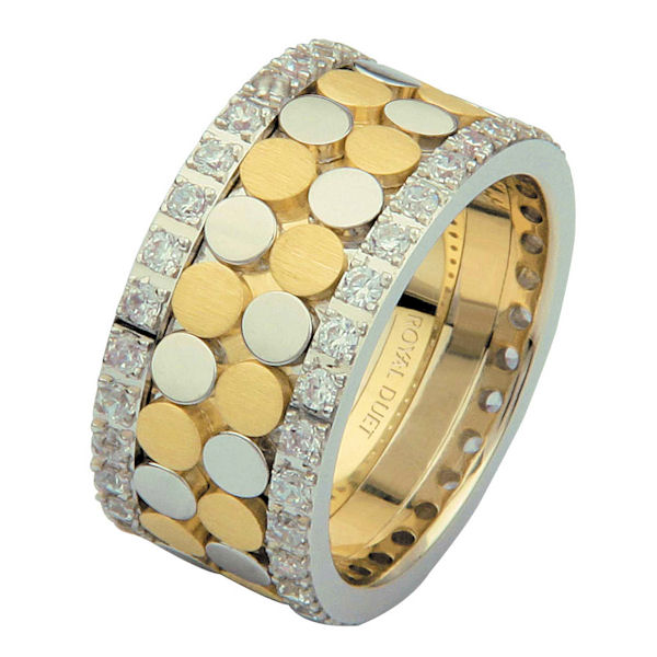 Item # 68750010DE - 18 kt two-tone gold, comfort fit, 10.35 mm wide, diamond eternity ring. The band has a beautiful composition of white and yellow gold with diamonds accenting each side of the ring. It has approximately 1.05 ct tw round brilliant cut diamonds, that are VS1-2 in clarity and G-H in color. Diamond total weight may vary depending on the size of the ring.