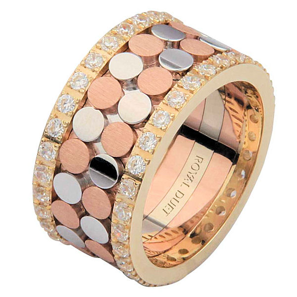 Item # 68750102D - 14 kt tri-color gold, comfort fit, 10.35 mm wide, diamond eternity ring. The band has a beautiful composition of rose, white, and yellow gold with diamonds accenting each side of the ring. It has approximately 1.05 ct tw round brilliant cut diamonds, that are VS1-2 in clarity and G-H in color. Diamond total weight may vary depending on the size of the ring.