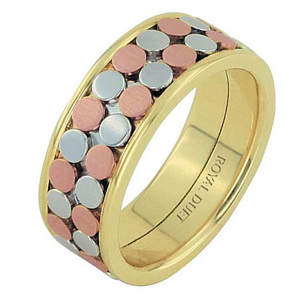 Item # 68750102E - 18 kt tri-color gold, comfort fit, 8.35 mm wide, wedding ring. The band has a beautiful composition of white, rose, and yellow gold together. There is a mix of brushed and polished finishes. Other finishes may be selected or specified.