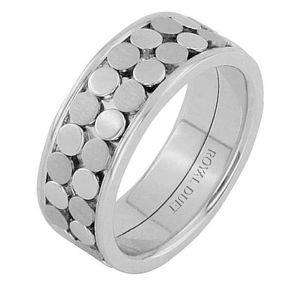 Item # 68750102W - 14 kt white gold, comfort fit, 8.35 mm wide, wedding ring. The band has a beautiful design made with white gold. There is a mix of brushed and polished finish. Other finishes may be selected or specified.