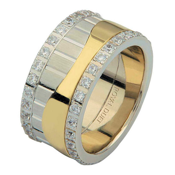 Item # 68752010DE - 18 kt two-tone gold, comfort fit, 10.2 mm wide, diamond eternity ring. The band has a beautiful composition of white and yellow gold with diamonds accenting each side fo the ring. It has about 1.05 ct two round brilliant cut diamonds, that are VS1-2 in clarity and G-H in color. Diamond total weight may vary depending on the size of the ring.