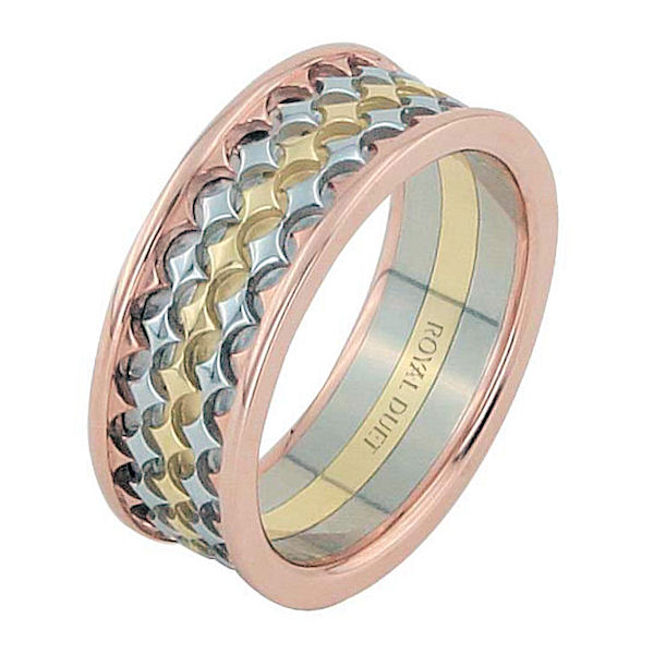 Item # 68753201E - 18 kt tri-color gold, comfort fit, 8.35 mm wide, wedding ring. The band has a beautiful composition of white, rose, and yellow gold. Different finishes may be selected or specified.