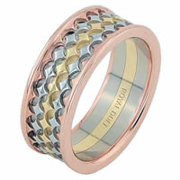 Item # 68753201E - 18 Kt Tri-Color Wedding Ring