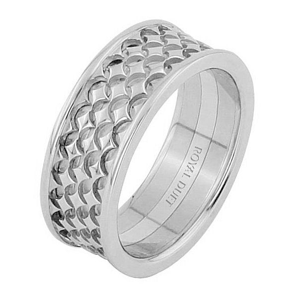 Item # 68753201W - 14 kt white gold, comfort fit, 8.35 mm wide, wedding ring. The band has a unique design made from white gold. Different finishes may be selected or specified.